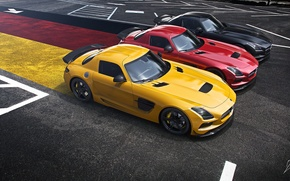 Картинка Mercedes-Benz, German, Red, AMG, Black, SLS, Yellow, Widescreen, Flag, Supercar, Black Edition, Asphalt