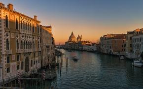 Картинка дома, вечер, Италия, Венеция, собор, канал, Санта-Мария-делла-Салюте