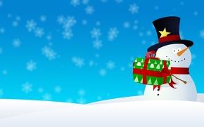 Картинка снег, снежинки, графика, новый год, рождество, снеговик, christmas, new year