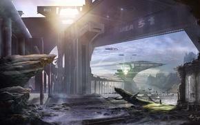 Картинка небо, горы, птицы, человек, руины, Area 51, Early dawn