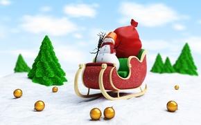 Картинка снег, новый год, метла, new year, сани, дед мороз, snow, merry christmas, broom, веселый рождество, ...