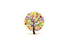 Картинка вишня, дерево, апельсины, арбуз, киви, клубника, виноград, бананы, фрукты, ананас, грейпфрут, дыни