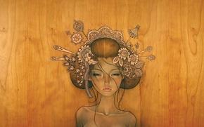 Картинка дерево, рисунок, девушка