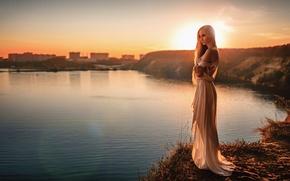 Картинка Закат, Солнце, Девушка, Озеро, Платье, Блики, Красивая, Елена Давыдова
