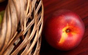 Картинка макро, стол, корзина, фрукт, персик, нектарин