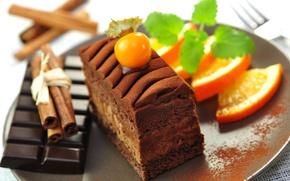 Обои палочки, торт, кусочек, десерт, сладкое, тортик, дольки, фрукты, еда, пирожное, шоколад, плитка, апельсины, корица, темный