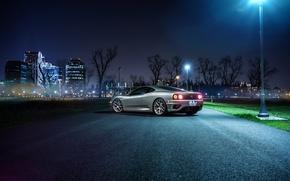 Картинка Ferrari, Car, 360, Modena, Wheels, Avant, Rear, Garde, Ligth, Nigth