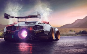 Картинка Lamborghini, Power, Fire, Jet, Countach, Engine, by Typerulez, Concept