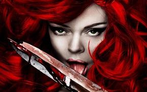 Обои рыжая соня, red sonja, кровь, клинок, острие
