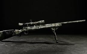 Обои кадр, оптика, прицел, винтовка, чёрнобелый