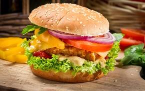 Обои листья, сыр, лук, перец, овощи, помидоры, гамбургер, котлета, сэндвич, булка, кунжут, фаст фуд, салат