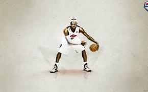 Картинка баскетбол, NBA, LeBron James, Miami Heat, king, дриблинг