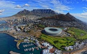 Картинка зима, море, горы, город, океан, дома, яхты, лодки, ЮАР, стадион, Южная Африка, Кейптаун, Февраль, Столовая ...