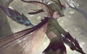 Обои лес, жезл, девушка, фэнтези, крылья, фея