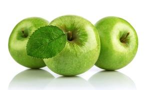 Обои яблоки, зеленые, белый фон, фрукты, apples