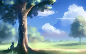 Обои дерево, пейзаж, apofiss, арт, кот