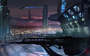 Обои закат, город, будущее, здания, корабли, арт, мегаполис, Ryan Gitter