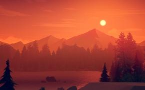 Картинка Закат, Солнце, Природа, Облака, Девушки, Горы, Озеро, Деревья, Лес, Берег, Силуэты, Пожарный, Exploration, Оранжевое, Adventure …