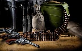Картинка оружие, пистолеты, лента, патроны, боеприпасы, револьверы