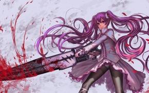 Картинка девушка, улыбка, оружие, кровь, аниме, лепестки, арт, mine, edenfox, akame ga kill!