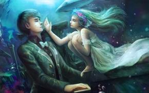 Картинка девушка, кит, парень, пианино, под водой