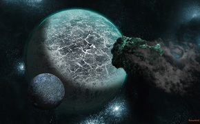 Картинка планеты, планета, метеор, астероид
