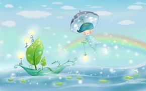 Обои море, небо, листья, вода, свет, природа, пузыри, дождь, лодка, рисунок, радуга, зонт, мальчик, фонари, парус, ...