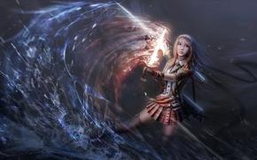 Картинка вода, девушка, огонь, магия, копье, Арт, клинок