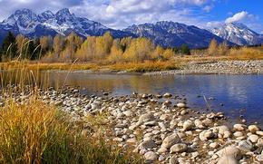 Картинка осень, небо, облака, деревья, горы, река, камни
