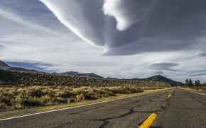Картинка california, storm, road, sky, desert