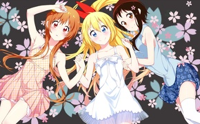 Картинка anime, art, nisekoi, Chitoge Kirisaki, Marika Tachibana, Kosaki Onodera