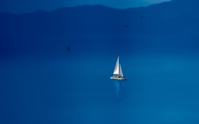 Картинка море, птицы, лодка