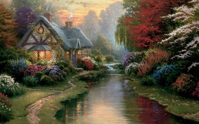 Картинка свет, закат, цветы, ручей, вечер, живопись, коттедж, тропинка, каменный, painting, Thomas Kinkade, Kinkade, A Quiet …