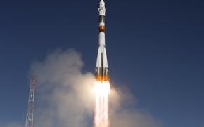 Обои пламя, Союз ТМА-16, запуск, ракета