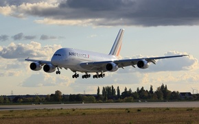 Обои aviatoin, airbus, a380, airfrance, landing