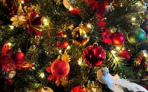 Картинка праздник, бабочка, звезда, елка, новый год, шар, рождество, гирлянда, голубок