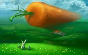 Картинка зеленый, холмы, рисунок, морковка, зайцы