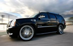 Картинка Cadillac, Черный, Колеса, Машина, Тюнинг, Скорость, Поворот, Car, Escalade, Автомобиль, Speed, Black, Wallpapers, Tuning, Красивая, …