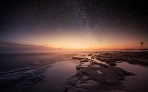 Картинка звезды, ночь, озеро, вечер, Швеция, Венерн, Карлстад