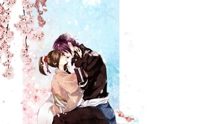 Картинка романтика, аниме, арт, двое, Hakuouki, Демоны сакуры