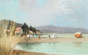Картинка море, пейзаж, горы, дом, берег, лодка, картина, Марсель Диф, Пляж в Провансе