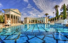 Картинка вода, Калифорния, колонны, США, архитектура, Сан-Симеон, бассейн Нептуна