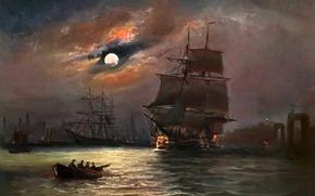 Картинка картина, корабль, лодка, Луна, Alfred Jansen, море, паруса, ночь, небо, пейзаж