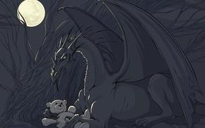 Картинка игрушка, вектор, Дракон, мишка
