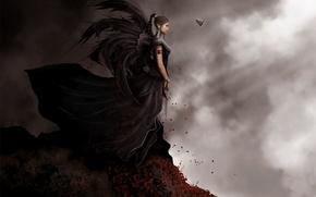 Картинка скала, ночь, эльфийка, ветер, фентези, дроу