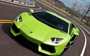 Картинка дорога, мечта, поворот, красотка, Lamborghini Aventador LP700-4