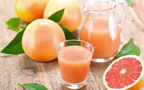Картинка сок, фрукты, грейпфруты, стакан. кувшин