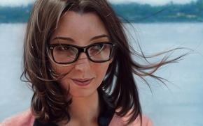 Обои взгляд, девушка, улыбка, ветер, волосы, арт, очки