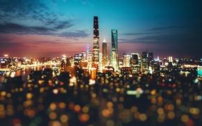 Обои боке, Китай, вечер, огни, ночь, город
