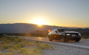 Картинка Rolls-Royce, дорога, sun, Wraith, машина, auto, light, car, солнце, Black Badge